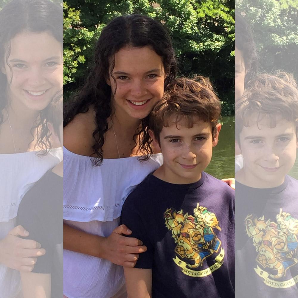 Happy cheerful siblings